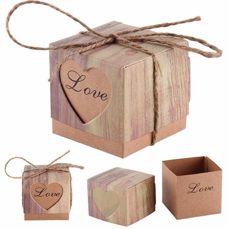 Meigar 50/100pcs Lover Words Wedding Favors Candy Boxes 2x2x2Inch Love Heart Rustic Kraft Gifts Bonbonniere Favor for Vintage Bridal Shower Party Birthday Baby Shower