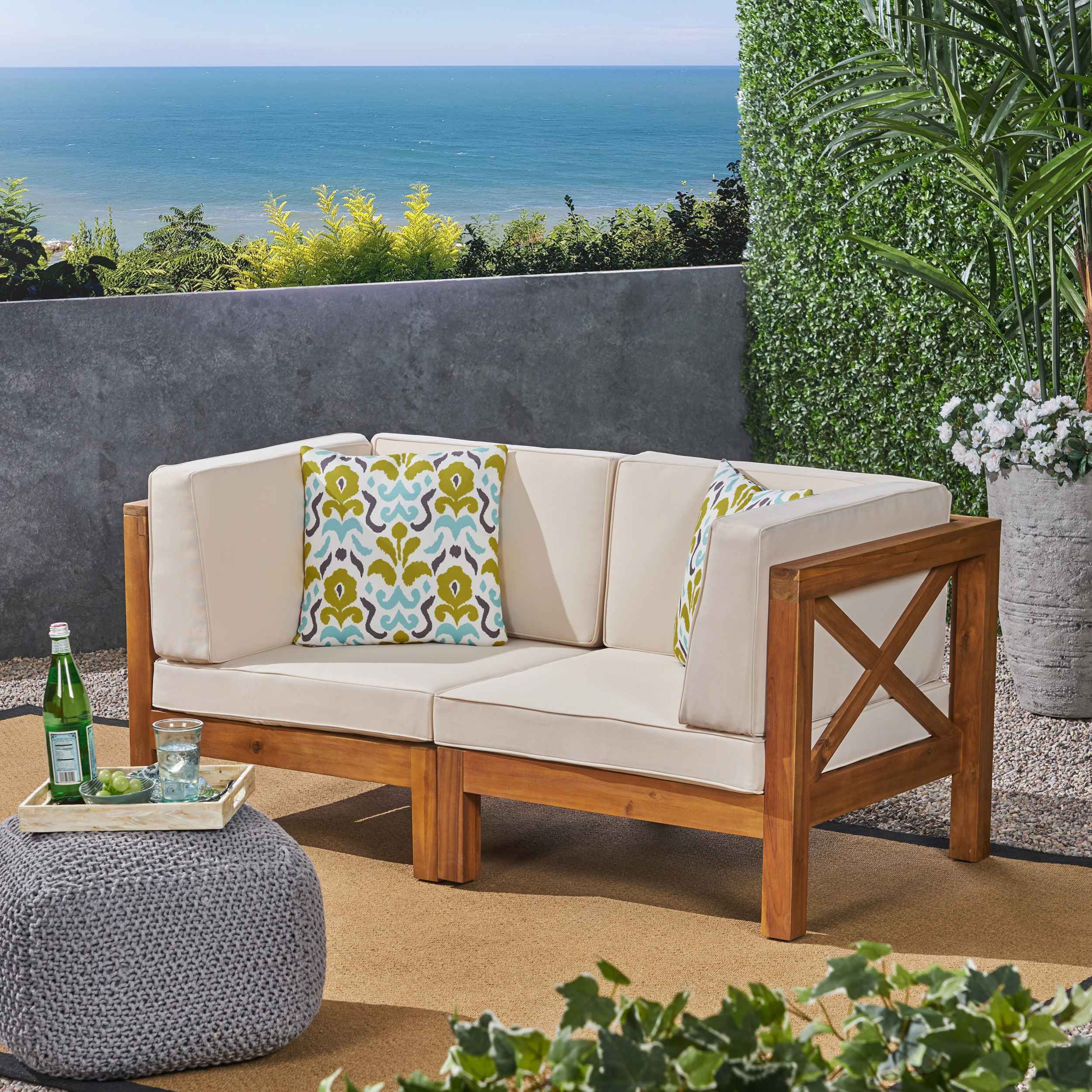 Luella Outdoor Modular Sectional Acacia Wood Loveseat with Cushions, Teak, Blue