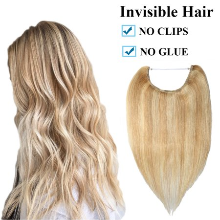 """S-noilite 16""""/18""""/20""""/22"""" One Piece Straight Remy Human Hair Miracle Secret Invisible Wire Hair Extensions No Clip No Glue 1pcs Blond & Bleach Blonde,22""""-75g"""