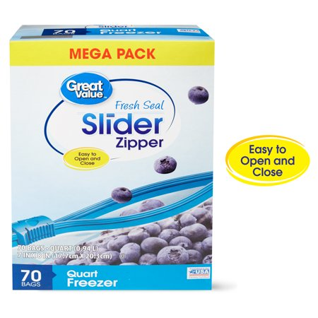 - (2 pack) Great Value Slider Zipper Freezer Bags, Quart, 70 Count