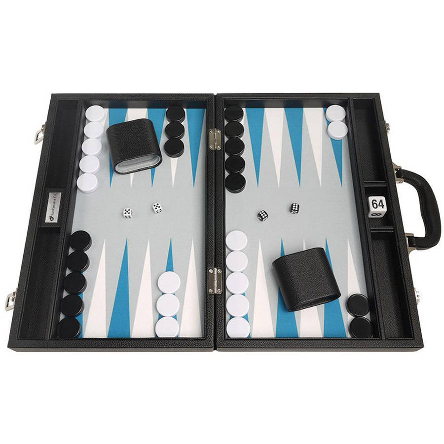 """16"""" Premium Backgammon Set, Black with White and Astral Blue Points by Silverman & Co"""
