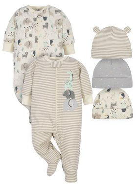 Gerber Baby Boy or Girl Gender Neutral Organic Sleep 'N Play Pajamas & Caps Bundle, 5-Piece