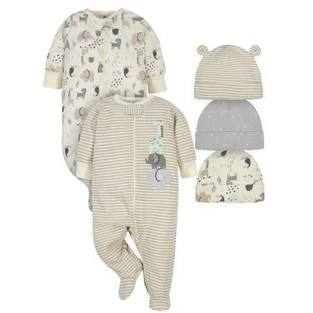 Gerber Baby Boy or Girl Gender Neutral Organic Sleep 'N Play Pajamas & Caps Bundle, 5-Piece