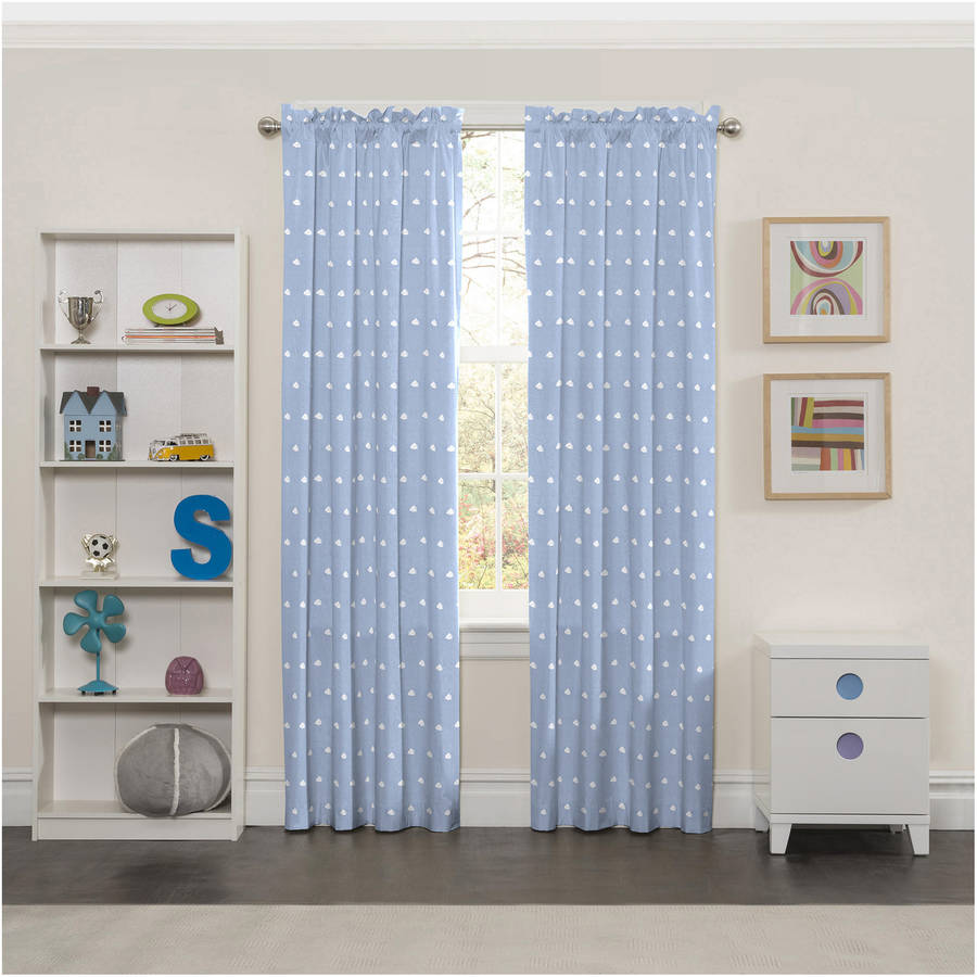 Eclipse Cozy Clouds Print Kids Bedroom Blackout Curtain Panel