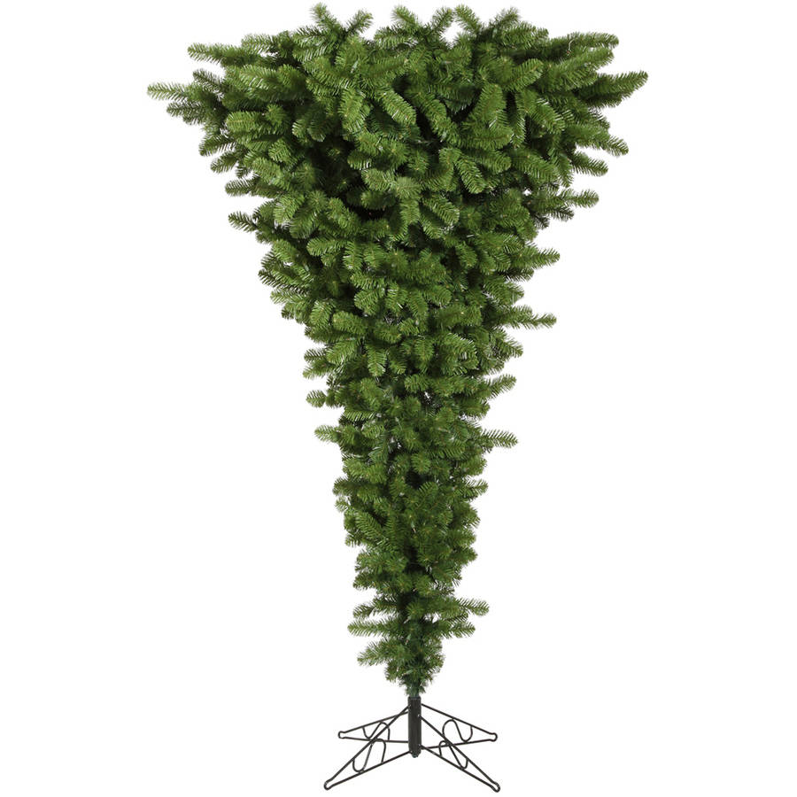 Vickerman 5.5' Green Upside Down Artificial Christmas Tree with 250 Multi-Colored LED Lights