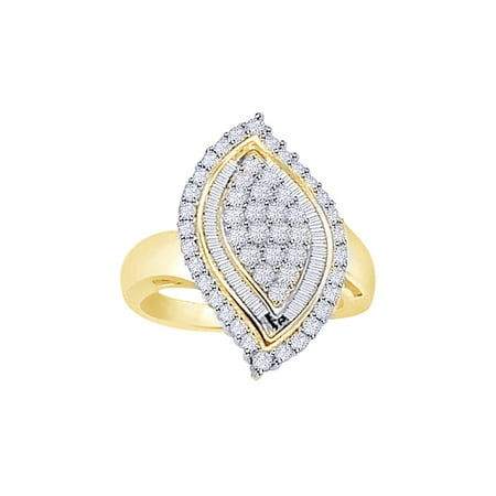 White Natural Diamond Marquise Shape Cluster Ring In 10k Yellow Gold (0.75 Cttw)