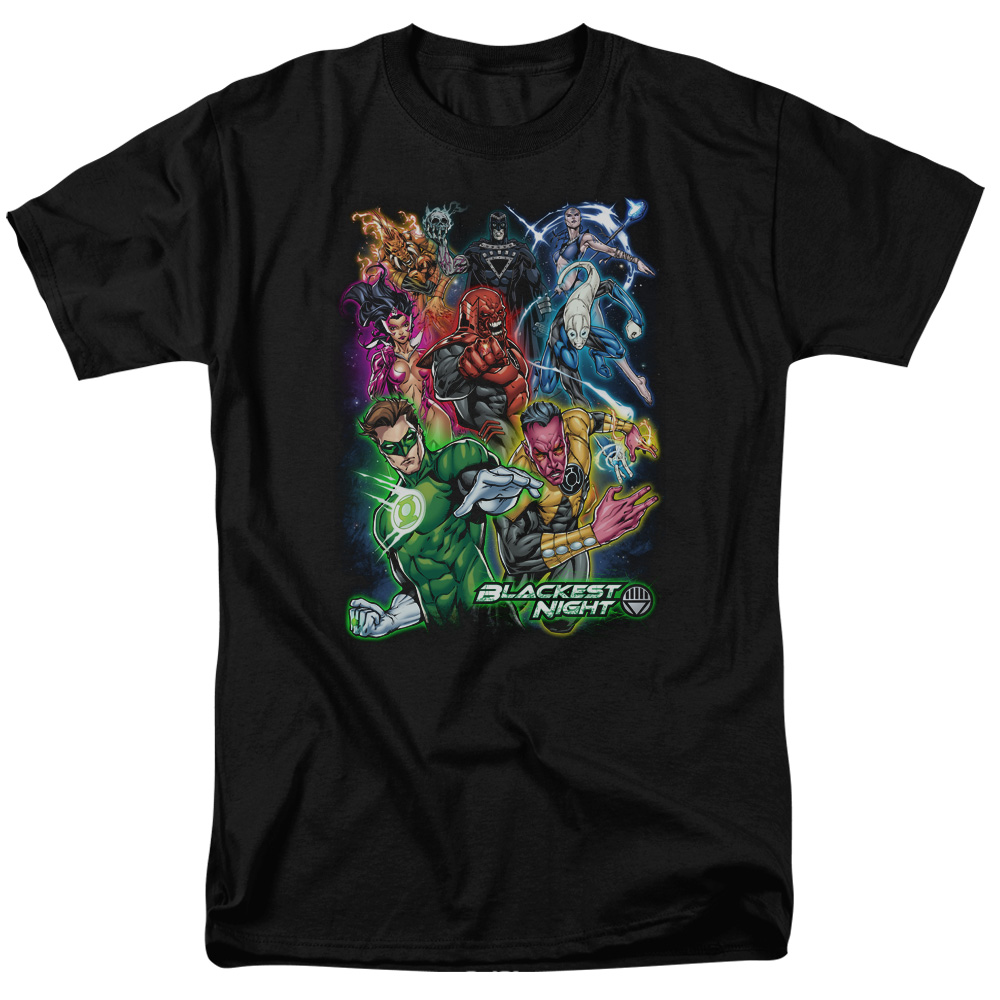 Green Lantern Blackest Group Mens Short Sleeve Shirt