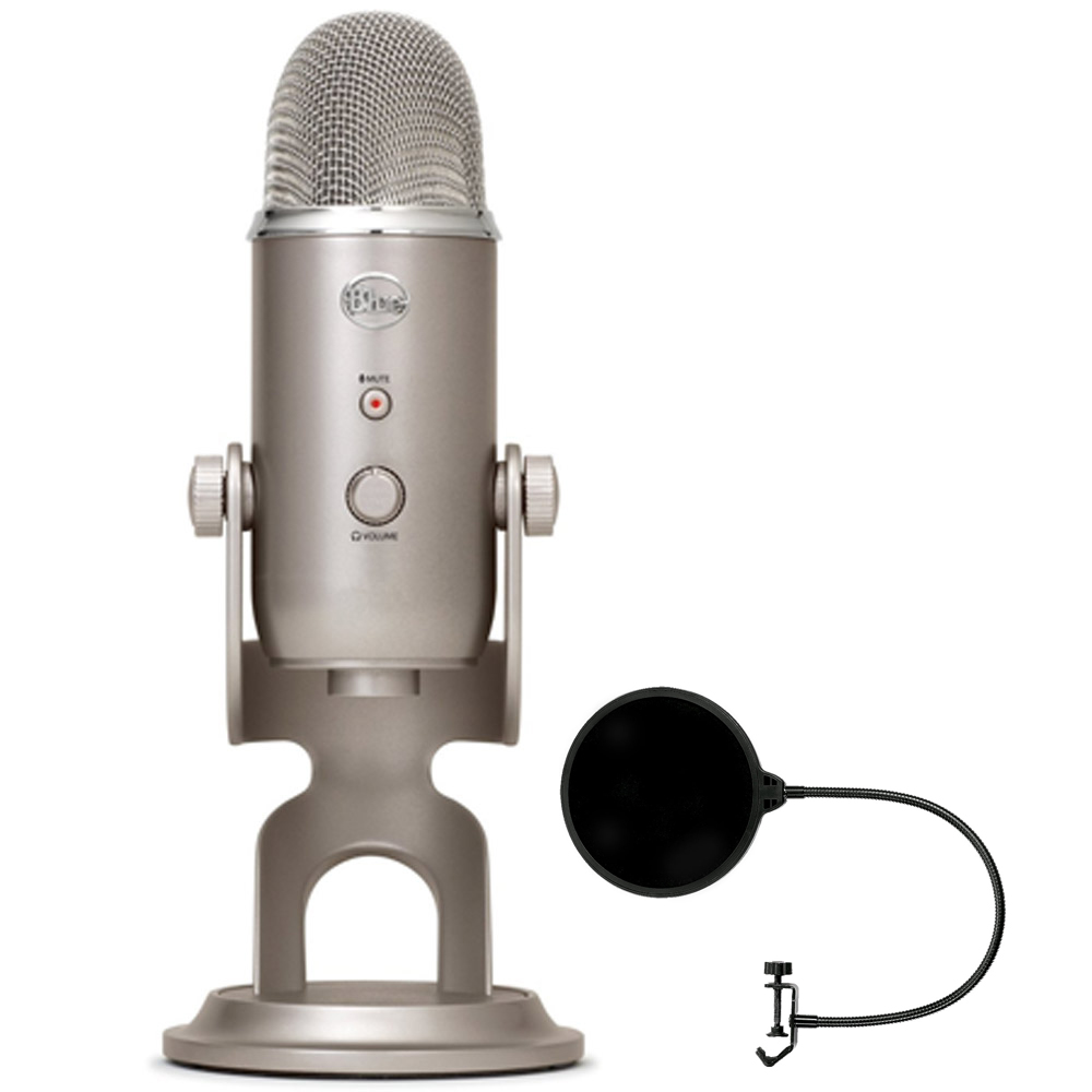 Blue Microphones Yeti 3-Capsule USB Microphone - Platinum (YETI PLATINUM) with Pop Shield Universal Pop Filter Microphone Wind Screen with Mic Stand Clip