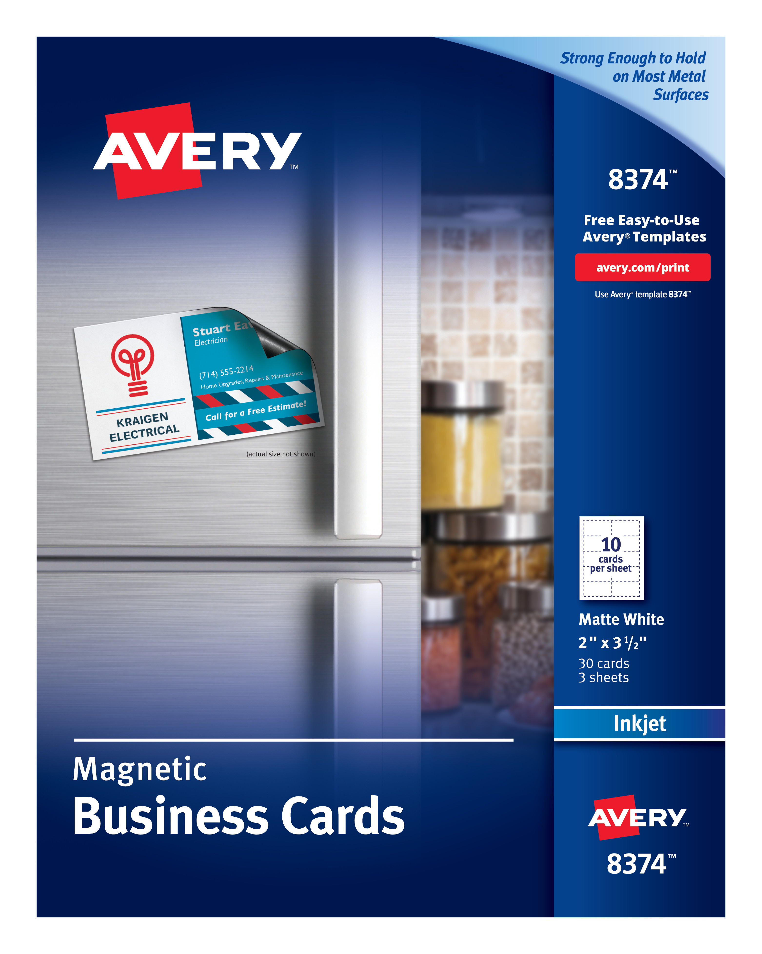 Avery 8374 Magnetic Business Cards 2 X