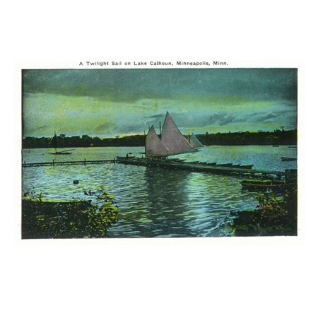 Minneapolis, Minnesota - Twilight Scene on Lake Calhoun, Sailboat Print Wall Art By Lantern