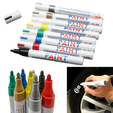 Opaque Permanent Marker Style Pen - 12 Colors Tire Permanent Paint Marker Pen Car Tyre Rubber Universal Waterproof Oil Based