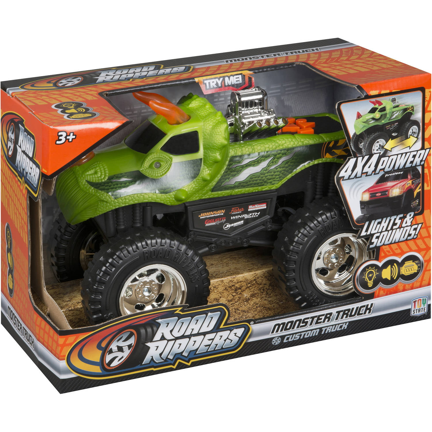 "Road Rippers 10"" Light and Sound 4x4 Monster Truck, DinoRoar by Road Rippers"