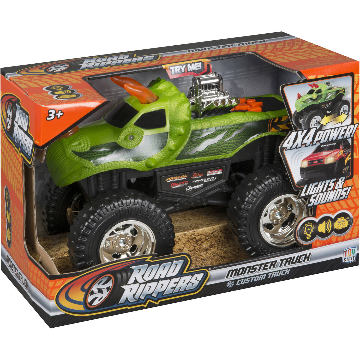 "Road Rippers 10"" Light and Sound 4x4 Monster Truck, DinoRoar"