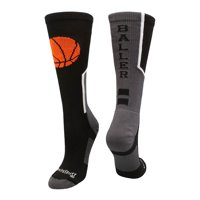 Baller Basketball Logo Crew Socks (Black/Orange, Medium) - Black/Orange,Medium
