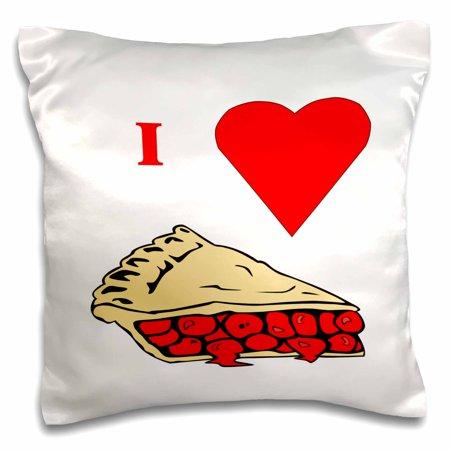 3dRose Love Cherry Pie - Pillow Case, 16 by 16-inch ()