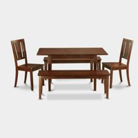 East West Furniture Norfolk 5 Piece Scotch Art Dining Table Set with 2 Benches