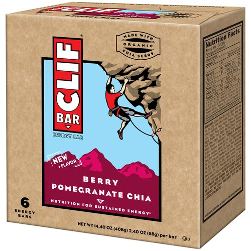 Clif Bar Berry Pomegranate Chia Bars, 2.40 oz, 6 count