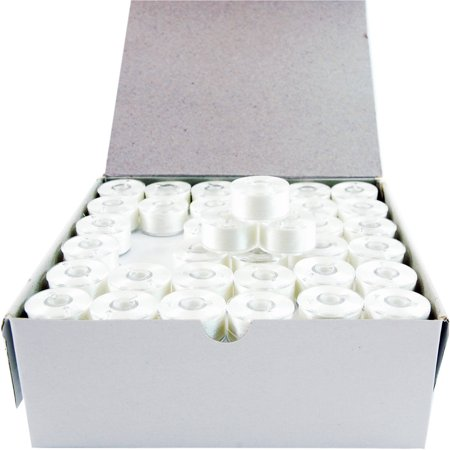 Threadart White A Style Plastic Sided Prewound Embroidery Bobbins, 144 Count
