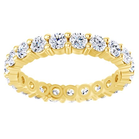 Round Cut Simulated White Moissanite Eternity Band Ring In 14K Solid Yellow Gold , Size-12.5