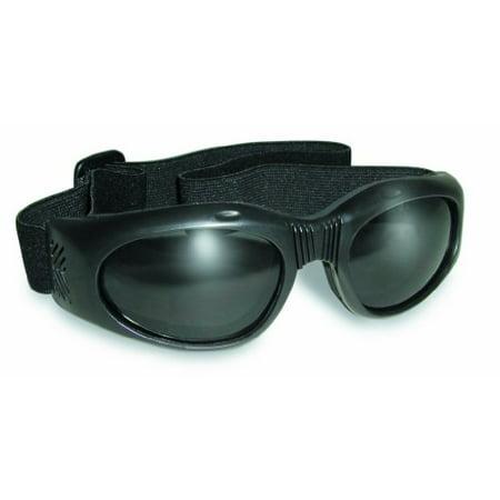 Air Jacket Foldable Goggles Shiny Black Frame Smoke Lenses ()