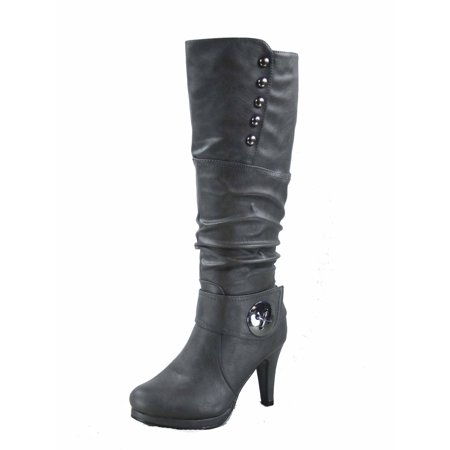 Win-45 Women's Fashion Knee High Round Toe Slouched High Heel Platform