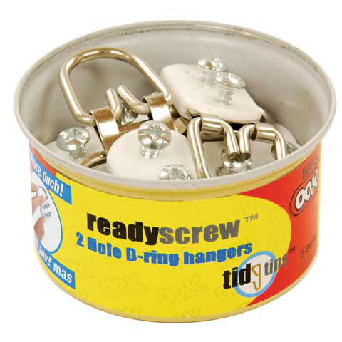 Hillman Group Inc-Ook 50636 2 Hole D-Ring Hangers In Tidy Tin 10 Count