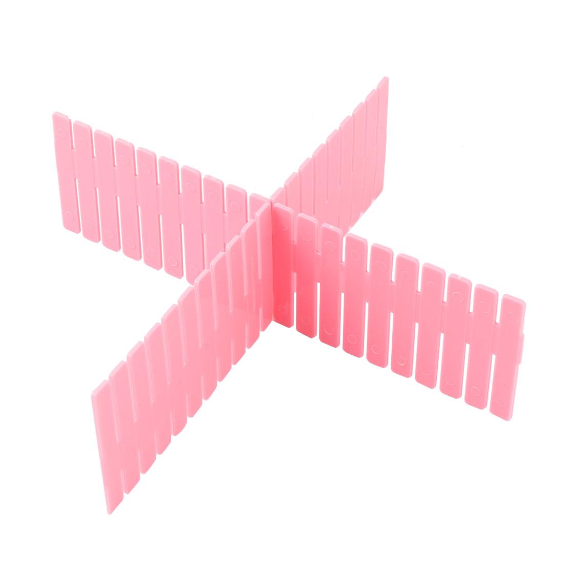 Grille séparation réglable en plastique ménage Rangé diviseurs tiroir 12 pcs rose - image 1 de 3