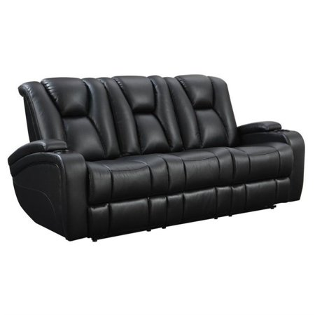 Miraculous Kingfisher Lane Faux Leather Power Reclining Sofa In Black Customarchery Wood Chair Design Ideas Customarcherynet