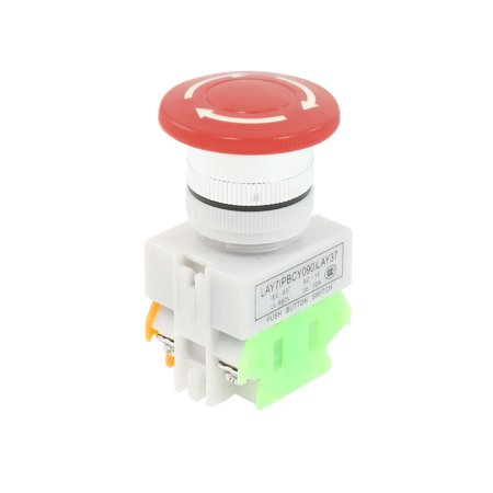 660V 10A Sign Rotating Mushroom Push Button Switch Lock 1 NO 1 NC DPST