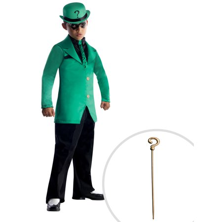 DC Comics Gotham Super Villains Riddler Costume for Kids and The Riddler Cane - Riddler Womens Costume
