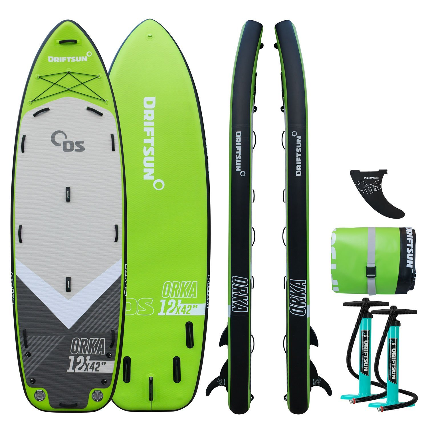 Driftsun Orka 12 Gear Vessel Paddle Board Multi Person iSUP Group Inflatable Stand Up Paddleboard with Two High Pressure... by Driftsun