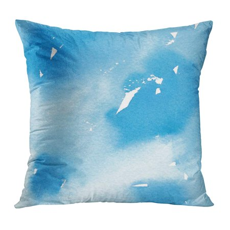 ECCOT Blue Artistic Abstract Watercolor Painting Colorful Beautiful Blended Brush Cerulean Chaotic Pillowcase Pillow Cover Cushion Case 18x18 inch