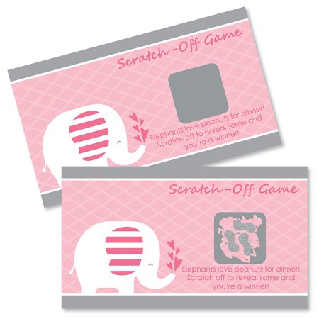 Pink Elephant - Girl Baby Shower or Birthday Party Game Scratch Off Cards - 22