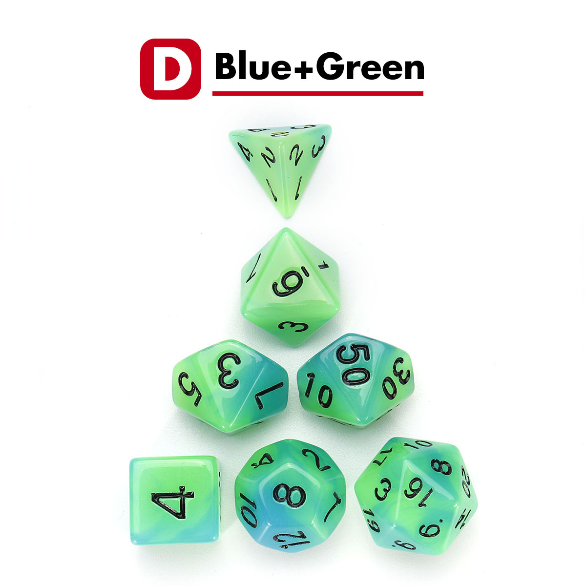 Polyhedral Luminous Dice Set With Pouch For Role And Tabletop Games Pen-/&-Paper
