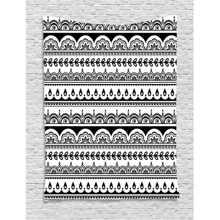 Tribal Tapestry, Ethnic Borders with Leaves Florals Flowers Ivy Swirls Indian Inspired Art Image, Wall Hanging for Bedroom Living Room Dorm Decor, 40W X 60L Inches, Black and White, by - Tribal Flowers