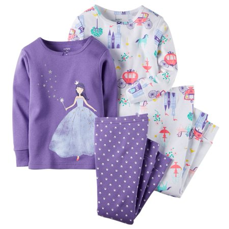Carters Baby Clothing Outfit Girls 4-Piece Snug Fit Cotton PJs Fairy Tale Princess