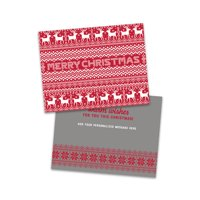 Personalized Fairisle With Reindeer Folded Christmas Card