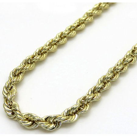 10k Yellow Gold Mens 2MM Hollow Rope Chains, Spring Clasp, 16 to 22 Inches (16) Chains Mens Gold Chain