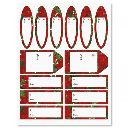 Poinsettia with Pinecones Christmas To/From Labels - Set of 42 gift tags