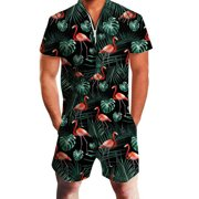 Men Hawaiian Siamese Menswear Printed One Piece Zipper Romper Zipper Short Pants
