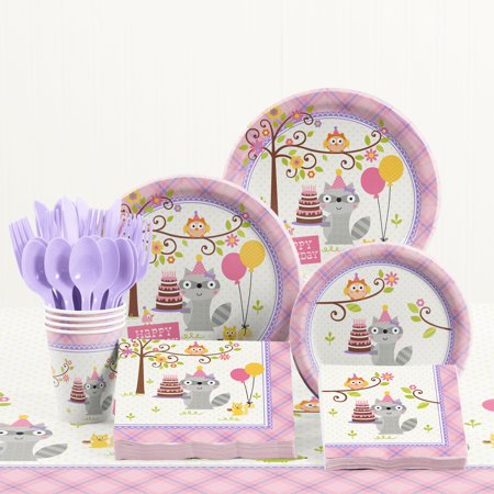 Happi Woodland Girl Birthday Party Supplies Kit - Girl Birthday Supplies