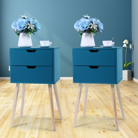Jaxpety Set of 2 Mid-Century Modern Nightstand Bedside Table Sofa End Table Bedroom Decor 2 Drawers Storage with Solid Wood Legs, Blue