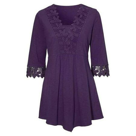 AKFashion Women's Plus Size Irregular 3/4 Sleeve V Neck Hollow Out Lace Blouse Shirts - 70's Plus Size Clothing