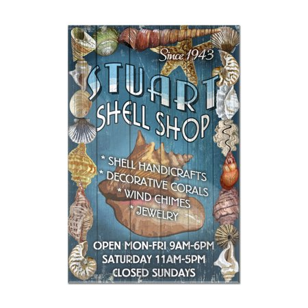 Florida Vintage Poster (Stuart, Florida - Shell Shop Vintage Sign - Lantern Press Poster (8x12 Acrylic Wall Art Gallery)