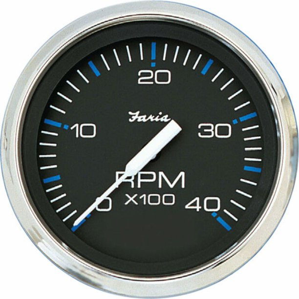 Faria 33742 Chesapeake Tachometer 4000 RPM Gauge - Black SS, 4""
