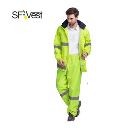 SFVest High Visibility Reflective Rainwear Suit Luminous Safety Raincoat Suit Outdoor Hiking Riding Men and Women Waterproof Oxford Cloth Coating Cloth Riding Jacket