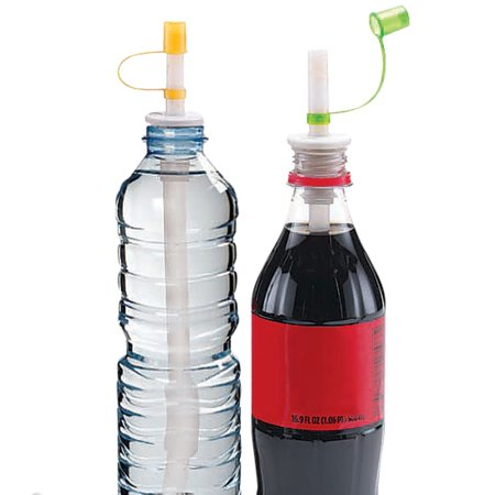 Reusable Plastic Bottle Straws with Flip-Top Caps to Prevent Spills and Keep Bugs Away - Fits Standard Size Soda or Water Bottles - Set of 2