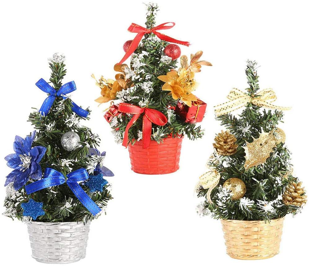 Mini Christmas Tree 3 Pieces 7 8inch Artificial Christmas Trees Decoration Ornaments With Flower Ribbon Ball Merry Christmas Bedroom Desk Decor Toy Gift For Home Office Random Walmart Canada