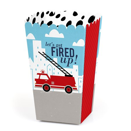 - Fired Up Fire Truck - Firefighter Firetruck Baby Shower or Birthday Party Favor Popcorn Treat Boxes - Set of 12