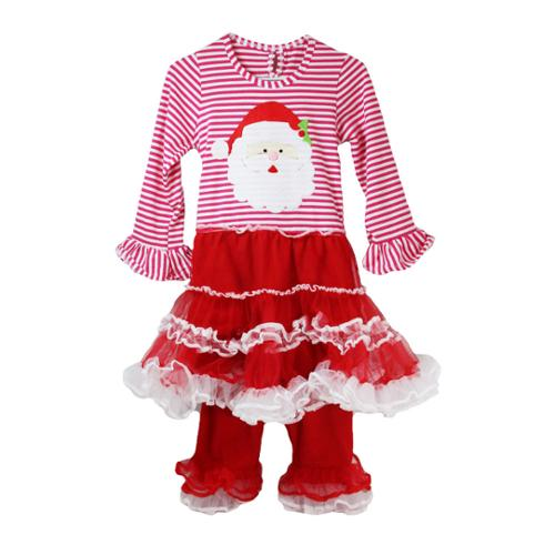 Baby Girls Red White Ruffles Santa Christmas Boutique Pant Outfit Set 12-18M